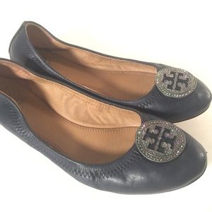 Tory Burch Liana Blue Leather ballet flat crystals